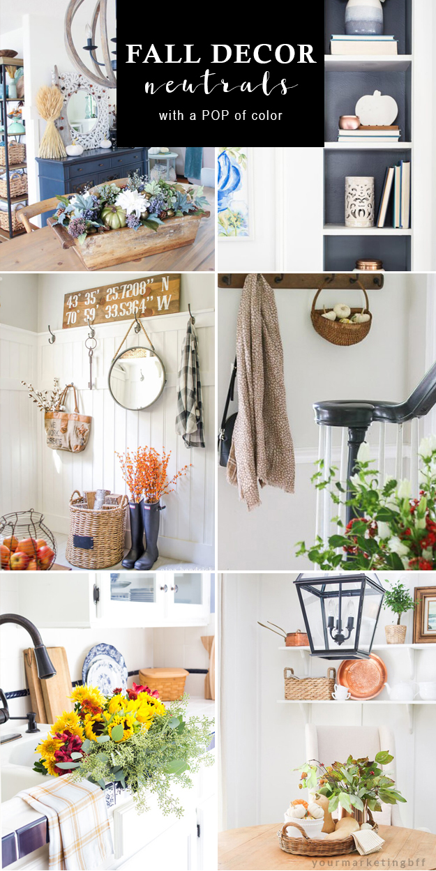 Fall decorating ideas neutral tones with a pop of color -pin