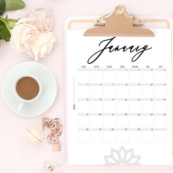 Free Modern 2020 Calendar Printable