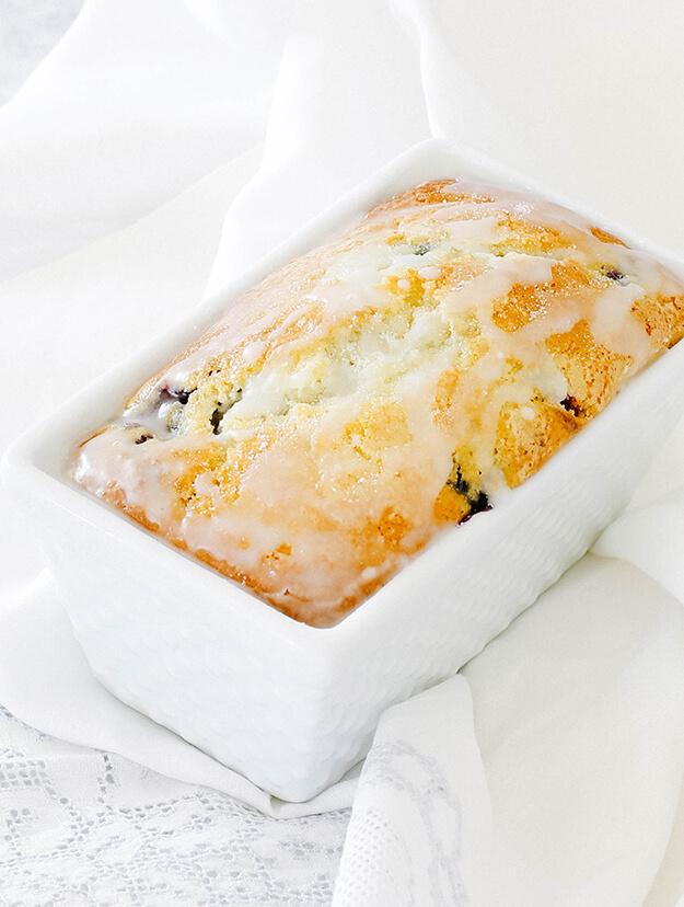 Glazed Blueberry Bread Loaf