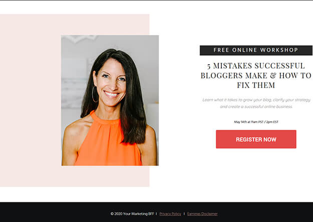 How to create a website that sells - Webinar Opt-in page